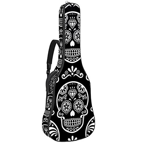 Calavera vector patrón sin costuras en negro, funda de guitarra bolsa de guitarra gruesa esponja acolchada para guitarra acústica clásica 110 cm