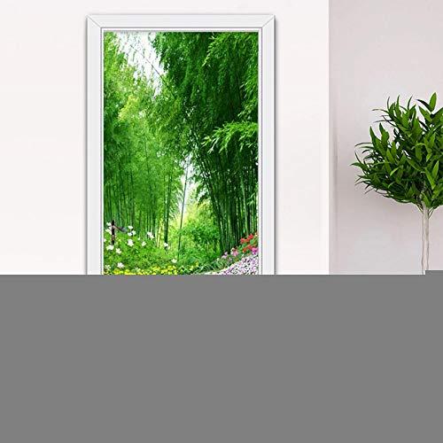 MQXUUYT Pegatinas Decorativas De Puerta Autoadhesivo 3D Bosque De Bambú Verde con Hermosas Flores Vinilo para Puertas Mural PVC Pegatinas De Pared Foto Poster Mural De Puerta 3D 88X200Cm
