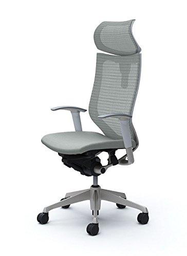 オカムラ オフィスチェア バロン 可動ヘッドレスト 可動肘 座クッション ライトグレー CP81DW-FDF3
