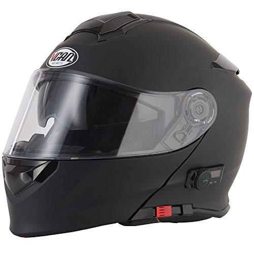 V271 BLINC VCAN Motorrad-Klapphelm, mit Bluetooth-Funktion, in vielen Farben erhältlich, mattes schwarz, L