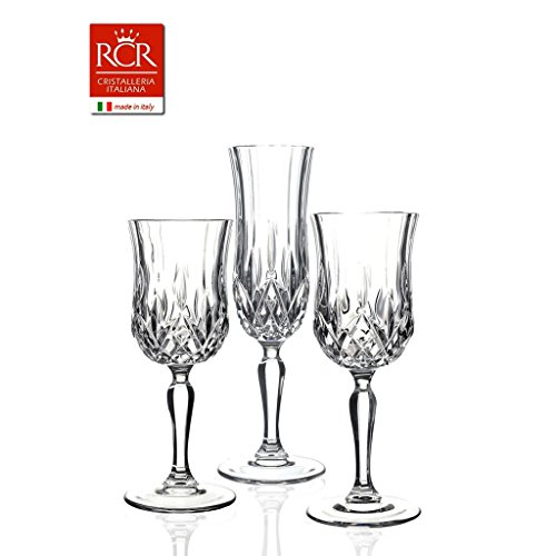 RCR cristalleria Set de 18 pièces (6 flûtes, 6 verres à eau, 6 verres à vin), verres en cristal de la gamme Opera, fabriqués en Italie