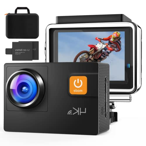 Action Camera 4K with Carring Case, Wi-Fi Sports Cam 4X Zoom 20MP EIS 40M Waterproof Underwater Camcorder with 19 Accessories, for Yutube/Vlog Videos