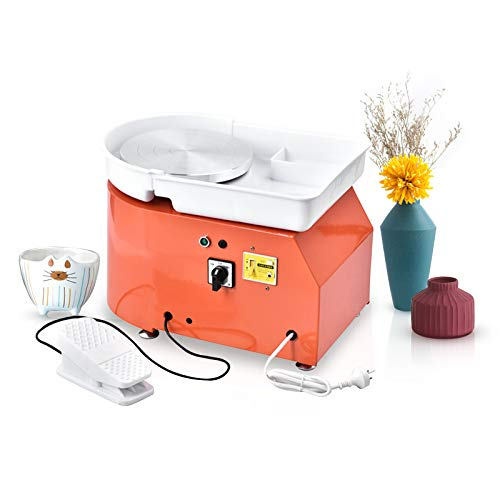 HUKOER 25cm Torno de Alfarero Eléctrico Rueda Eléctrica para Cerámica Herramienta de Arcilla Art Craft para Trabajo de Cerámica con Kit de Herramientas (Certificado CE) (Orange)