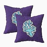 Fundas de almohada, 2 pegatinas de animales marinos bajo el agua en diseño de dibujos animados con contorno azul 45.7 x 45.7 cm, fundas de almohada para sofá