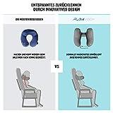 Nackenkissen aufblasbar von FLOWZOOM® - aufblasbares Nackenhörnchen für Reisen und zu Hause in Quarantäne - Schnell aufblasbar, Nacken- und Kinn-stützend mit samtweichem Bezug - 3