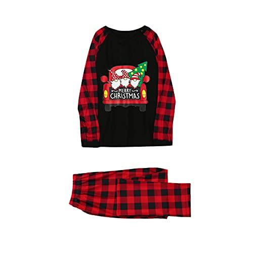Family Matching Pyjamas Set Santa Hat ELF Printed Top with Striped Pants Two Pieces Nightwear Sleepwear PJsB