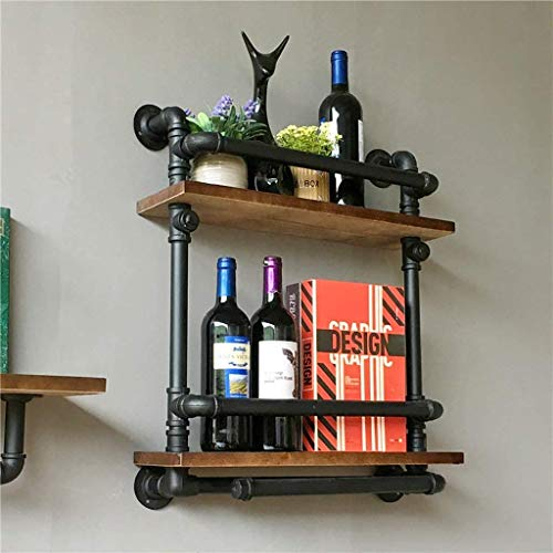 Estantería Estanterías de pared Pipa de hierro retro Biblioteca de agua Cachimba retro Estante de pared de vino de madera maciza americana industrial Estante de pared de vino Estante de vino de vino S