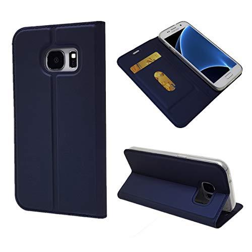 Copmob Coque Samsung Galaxy S7, Ultra Mince en Cuir PU Premium Housse à Rabat Portefeuille Coque [Antichoc TPU] [Protection Complète] [Fente pour Carte] [Fermoir Magnétique]- Bleu