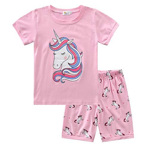 Pijama para Niñas Manga Corta Impresión de Unicornio Top y Pantalon Conjunto Algodón Ropa de Dormir 2 Piezas