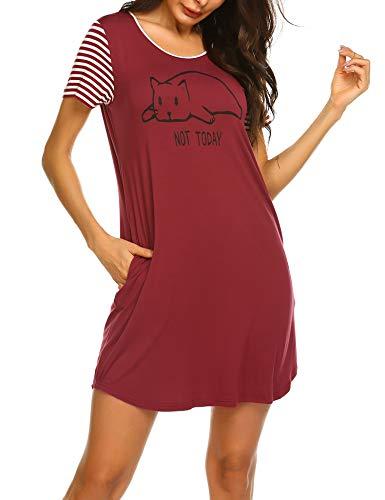 Ekouaer Women's Short Sleeve Nightgown Ladies Night Shirts Soft Sleeping Shirts Loungewear Nightshirts Red L