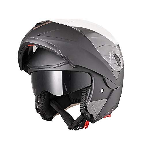 AHR Run-M Full Face Flip up Modular Motorcycle Helmet DOT Approved Dual Visor Motocross Matt Black L