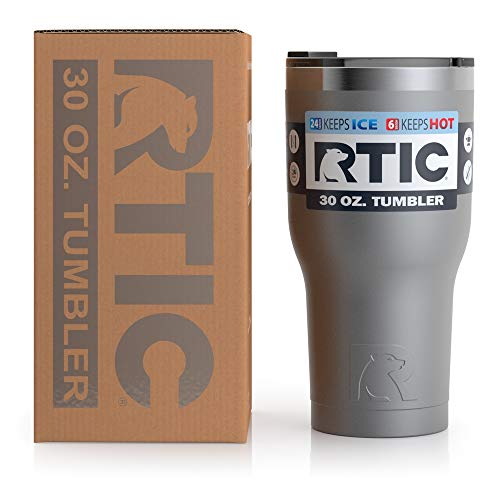 RTIC Tumbler, 30 oz, Graphite, Insulated Travel Stainless Steel Mug, Hot Or Cold Drinks, with Splash Proof Lid