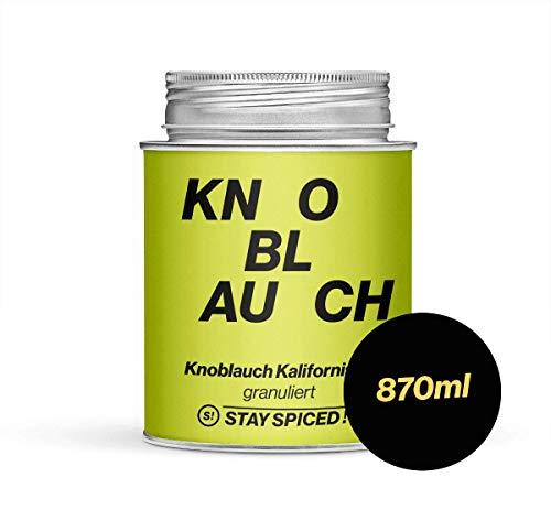 Erstklassiges Knoblauchgranulat von STAY SPICED ! Straight from California I Scharf-süß-fruchtig I 870 ml Schraubdose