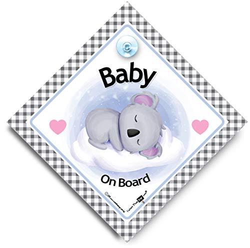 Panneau de fenêtre de voiture avec ventouse « Baby Koala On Board »