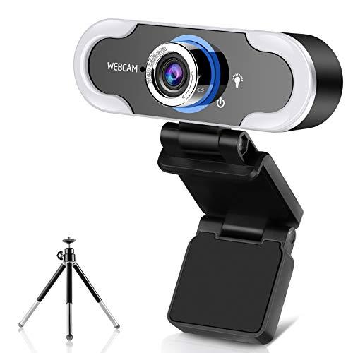 Full HD 1080P Webcam mit Mikrofon für PC Desktop Laptop with Light, Plug & Play USB 2.0 Kamera für Konferenz, Online-Unterricht, Videoanrufe mit drehbarem Clip