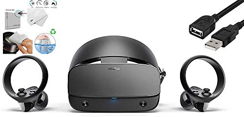 Oculus - Rift S PC-Powered VR Gaming Headset - Two Touch Controller, 3D Positional Audio, Insight Tracking, Adjustable Halo Headband Bundle with TWE Cleaning Cloth & USB Extension Cable