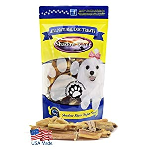 Shadow River Bully Bites for Dogs Made in USA – Regular Bites 1 Pound – 100% Beef Bully Stick Pieces for Medium to Extra Large Dogs – Grass Fed Long Lasting Chew Treats