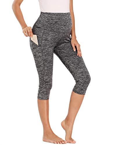 Love2Mi Trainingshose für Schwangere, 3/4 Umstands Yoga Sport Hose Schwangerschaft Jogginghose mit Taschen, Grau, XL