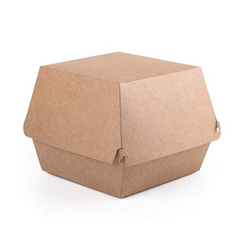 Paquete de 100 cajas para hamburguesas de papel kraft tamaño XL, contenedor de comida rápida para llevar, caja desechable para hamburguesas a prueba de fugas, ecológicas y reciclables (100, XL)