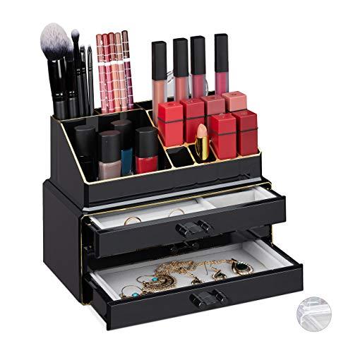 Relaxdays Make Up Organizer, 2-teilig, mit Schmuckkästchen, 3 Schubladen, Kunststoff, HBT 18,5x23,5x15 cm, schwarz-gold