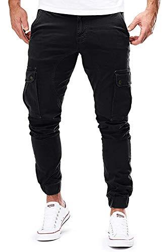 Herren Hose Jogger Chino Cargo Jeans Hosen Stretch Sporthose Herren Hose mit Taschen Slim Fit Freizeithose (Z_Schwarz, S)