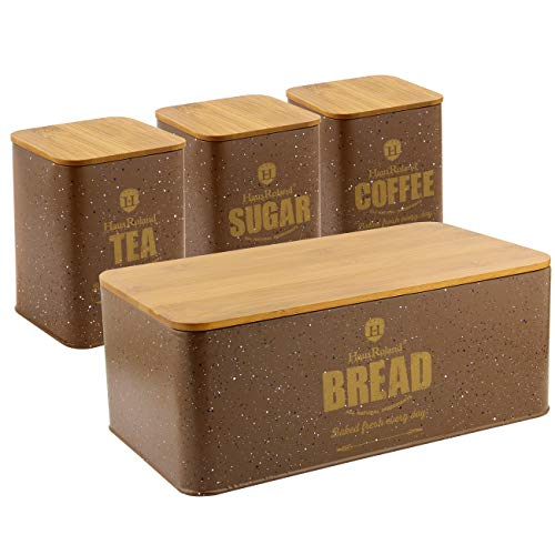 HausRoland Bread Box for Kitchen Counter Stainless Steel Bread Bin Storage Container For Loaves Pastries Dry Food (Coffee, Square)