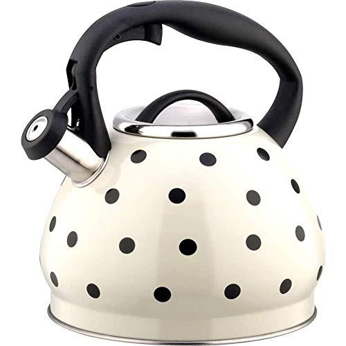 Bouilloire sifflante en acier inoxydable for poêle Polka Dot Kettle 3L Moderne Ménage Gaz Bouilloire Théière avec poignée ergonomique Rouge Xping (Color : White)