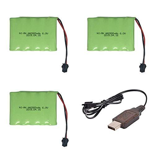Batería de respaldo de alto rendimiento 6v 2800mah M-Style NI-MH Batería con USB de alta capacidad AA NI-MH Batería para juguetes eléctricos / coche RC / camión / barco 6V-3PCS ( Color : 3pcs )