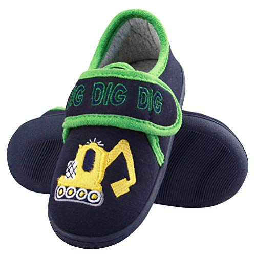 LA PLAGE Slippers for Child Soft Anti-Slip Toddler Slippers Cozy Comfortable Cotton Thick Insole Slip-on with Arch Support 10 US Black