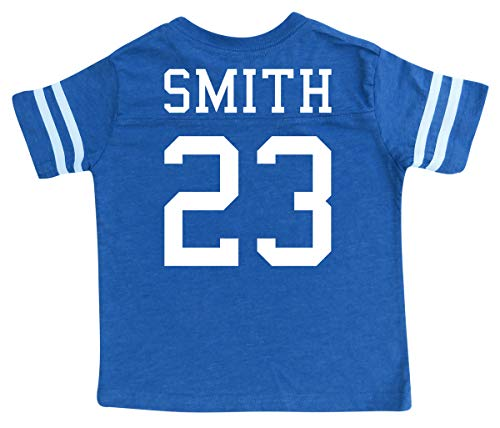 Custom Football Sport Jersey Toddler & Child Personalized with Name and Number - Front & Back (2T, Vintage Royal)