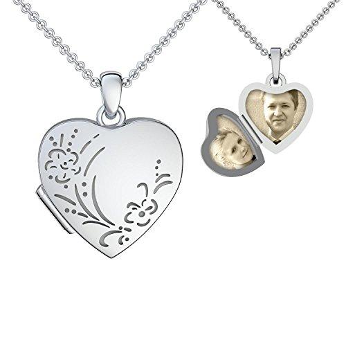 Herz Medaillon Foto Silber 925 antik vintage Herzkette Herz Anhänger zum Öffnen mit Kette GRATIS Etui mit