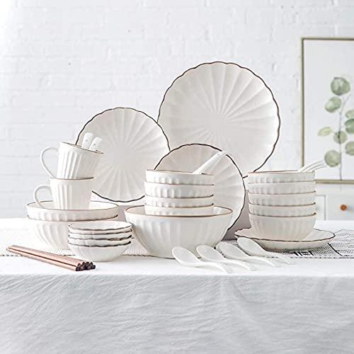 hyywmgx De vajilla, vajilla de cerámica, vajilla de Porcelana Mate con diseño de pétalos de 45 Piezas |Tazón de Cereales, Taza y Plato para Regalos de Boda a