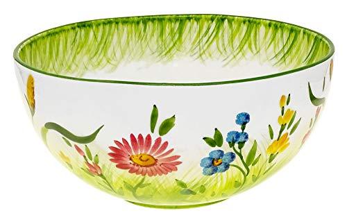 Lashuma Handgemachte Große Salatschale, Pastaschüssel mit Blumenwiesen Muster, Italienische Keramik Schale 27 cm