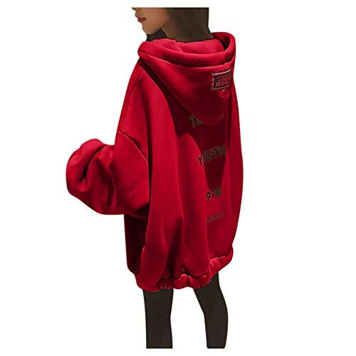 Lazzboy Kapuzenpullover Frauen Lose Large Zipper Letter Print Verdickung Sweater Damen Lange Ärmel Hoodie Pullover Frauen Mantel Jacke Lang Kapuzenpullis Pulli(Rot,S)