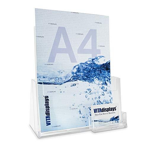 Expositor para folletos DIN A4 con soporte para folletos y soporte para tarjetas de visita