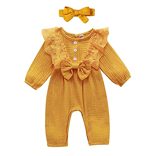 Baby Girl Fall Outfits 6-12 Months Long Sleeve Onesies Linen Romper Newborn Ruffle Lace Bodysuit Jumpsuit Outfits