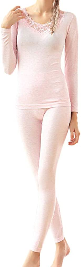 Female Autumn and Winter Lace Thermal Underwear Set Women's V-Neck Elastic Thermal Underwear