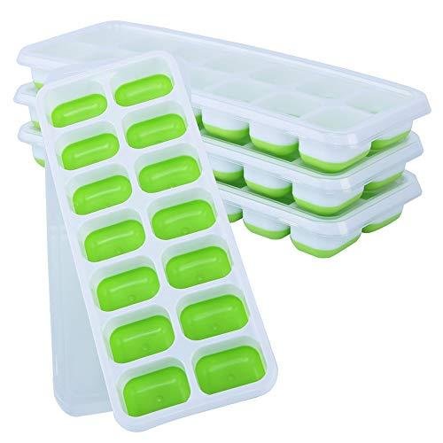 YBWEN Ice Cube Moulds & Trays 4 Packs Ice Cube lade BPA gratis mallen met anti-pil deksel beste voor vriezer Baby voedsel water Whiskey Cocktail Ice Cube Mould