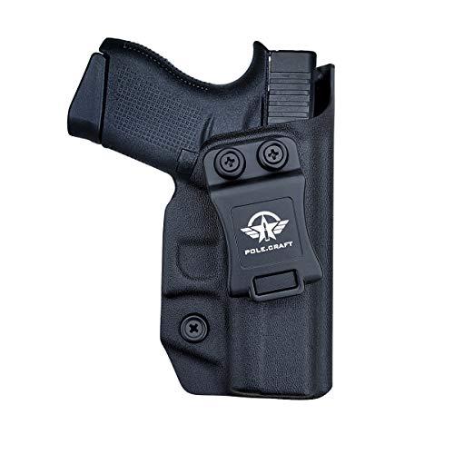Kydex IWB Holster for Glock43 / Glock 43X (Gen 3 4 5) Pistol Case - Glock43 Holster IWB - Inside Waistband Carry Concealed Holster Glock 43 IWB Kydex Gun Accessories (Black, Right Hand)
