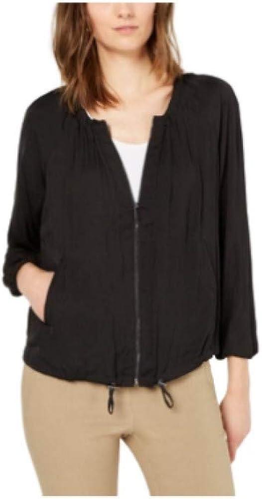 Alfani Bungee-Hem Washed-Satin Jacket Black XL