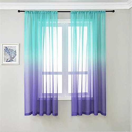 Juego de cortinas para dormitorio, 2 paneles, cortinas de bolsillo con degradado Ombre, paneles de cortinas semitransparentes, cortinas de poliéster semi veraniegas para decoración de sala de estar