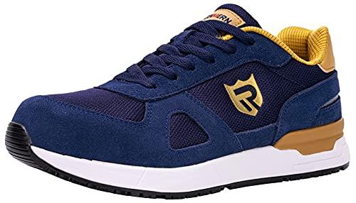 LARNMERN Zapatos de Seguridad Hombre Mujer Trabajo Punta Acero Zapatillas Seguridad Comodo Ligeros Antideslizante Calzado Seguridad Deportivo Verano(42EU,Azul)