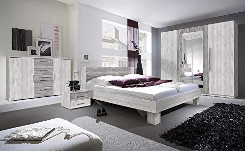 Furniture24 Doppelbett Vera 31/32 mit Zwei Nachttische, Bettgestelle, Bettrehmen, Elegante Bett für Schlafzimmer, Schlafmöbel (180 x 200, Arktis Kiefer Kiefer Hell/Arktis Kiefer Kiefer Dunkel)