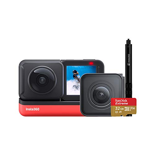 Insta360 ONE R Action Camera 360 Degree 5.7K Dual Lens 4K Wide Angle Sports Video Stabilization Waterproof Voice Control Reversible Touch Display (Twin Edition Selfie Stick Bundle)