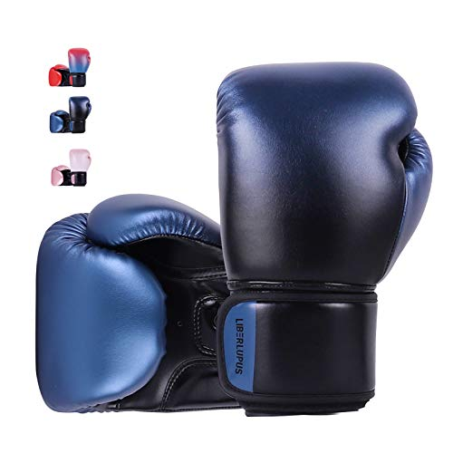 Liberlupus Youth Boxing Gloves for 10-18, Teens Boxing Gloves with Gradients, 2 Sizes, Teenagers Junior Kids Boxing Gloves for Punching Bag, Kickboxing, Muay Thai, MMA (Black Blue, 8 oz)