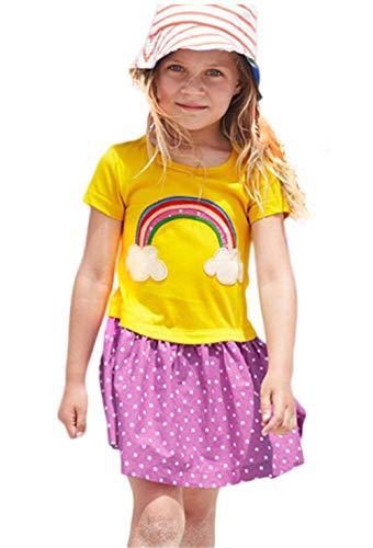 Honglang Lässiges Kleid für Mädchen, kurzärmelig, Baumwolle, Sommer-Winter-Outfit, Tunika, T-Shirt-Applikationskleid Gr. 5 Jahre, Gelb
