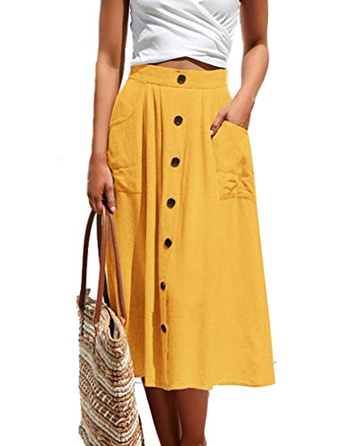Naggoo Womens Casual Front Button A-Line Skirts High Waisted Midi Skirt with Pockets (M, Yellow)