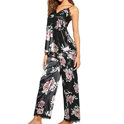 Woman Pajamas Jaminy Fashion Women Silk Satin Printed Lace Pajamas V-Neck Vest Trousers Set Sleepwear (Black, XL)