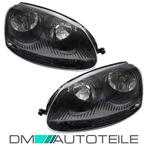 DM Autoteile SET Golf 5 V GTI R32 Scheinwerfer Schwarz Klarglas + XENON Look Birnen 8500K