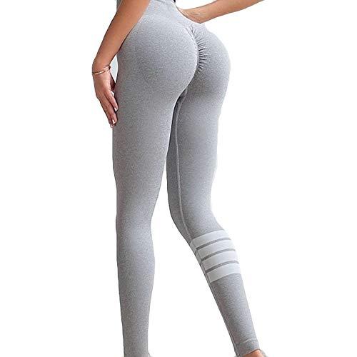 LSRRYD Leggings Mujer Fitness Suaves Elásticos Cintura Alta para Deportivos Cintura Alta Pantalones Deportivos Mallas Leggings (Color : Gray, Size : L)